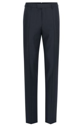 Slim-fit trousers in virgin wool, Dark Blue