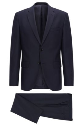 Regular-fit suit in virgin wool, Dark Blue