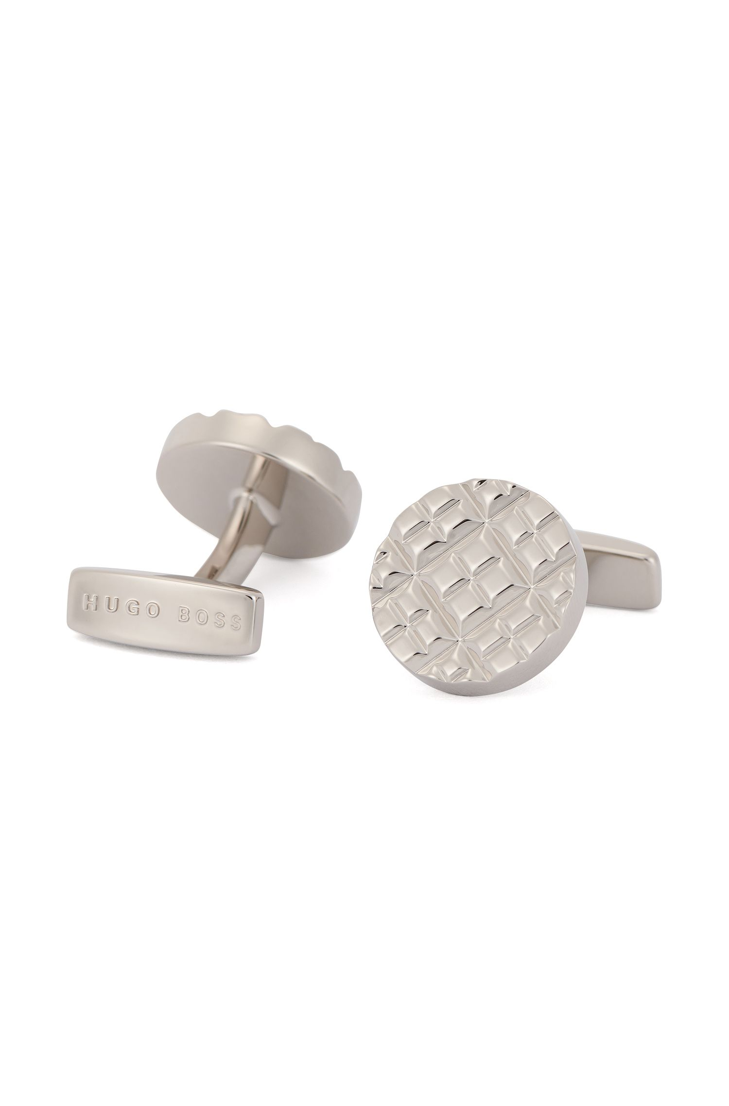 Round cufflinks in hand-polished brass