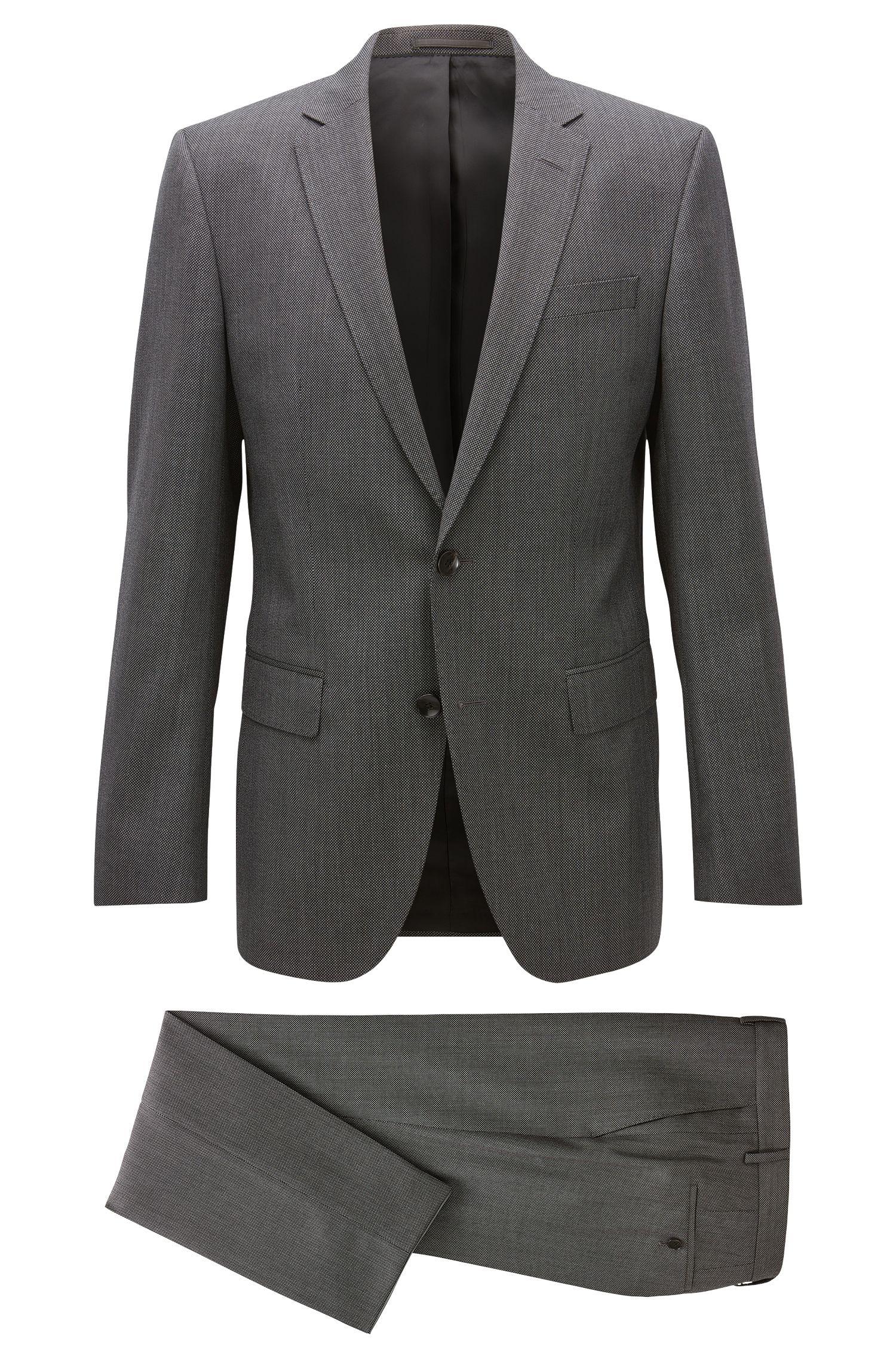 Slim-fit micro-pattern serge suit in virgin wool