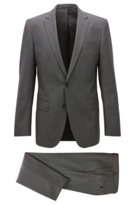 Slim-fit micro-pattern serge suit in virgin wool, Grey