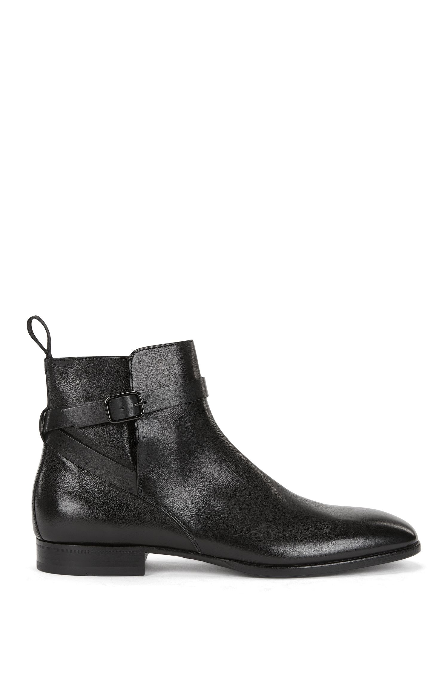 Grained leather Chelsea boots with buckled ankle strap