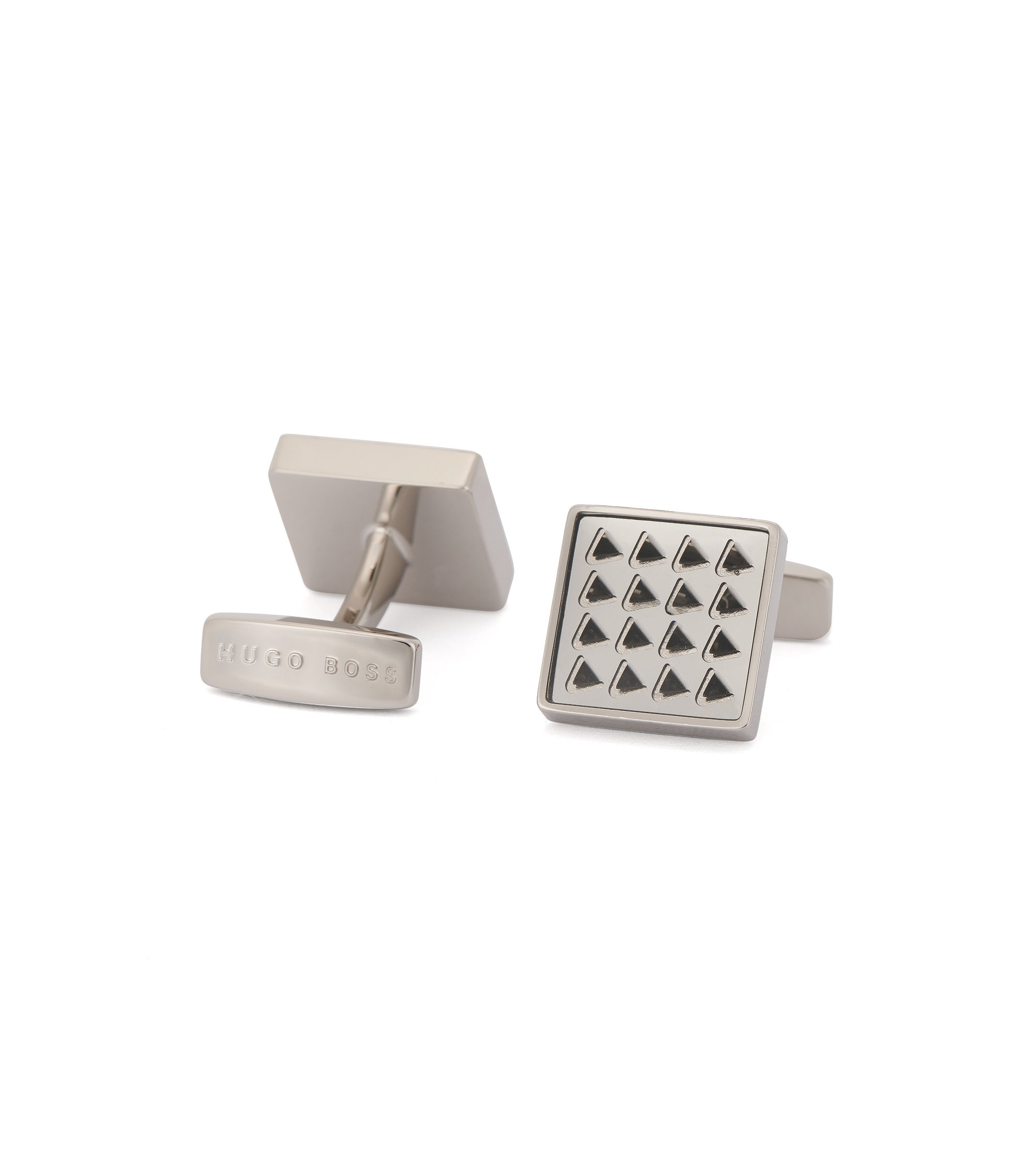 Square cufflinks in hand-polished brass, Light Grey