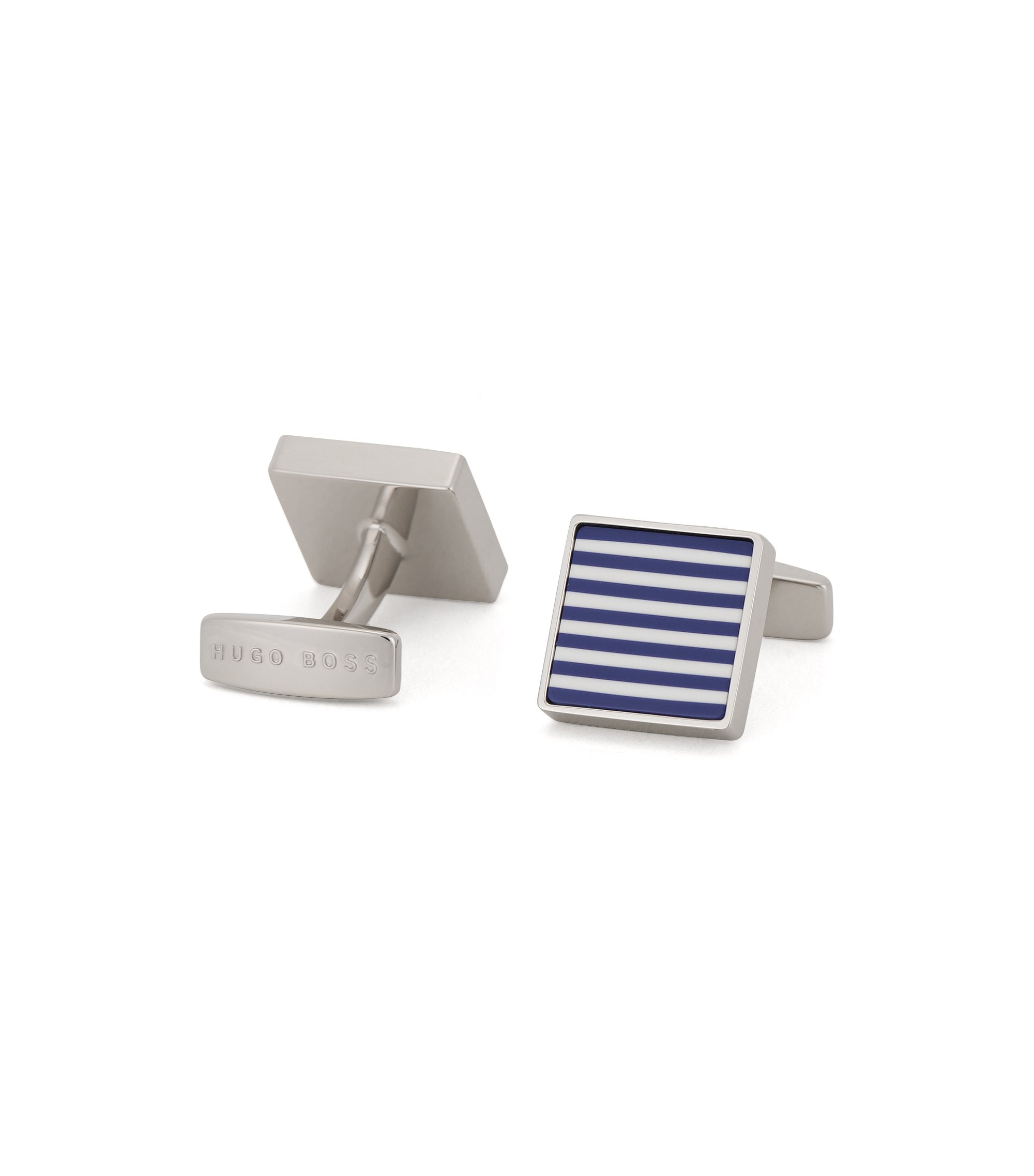 Square cufflinks in hand-polished brass, Blue