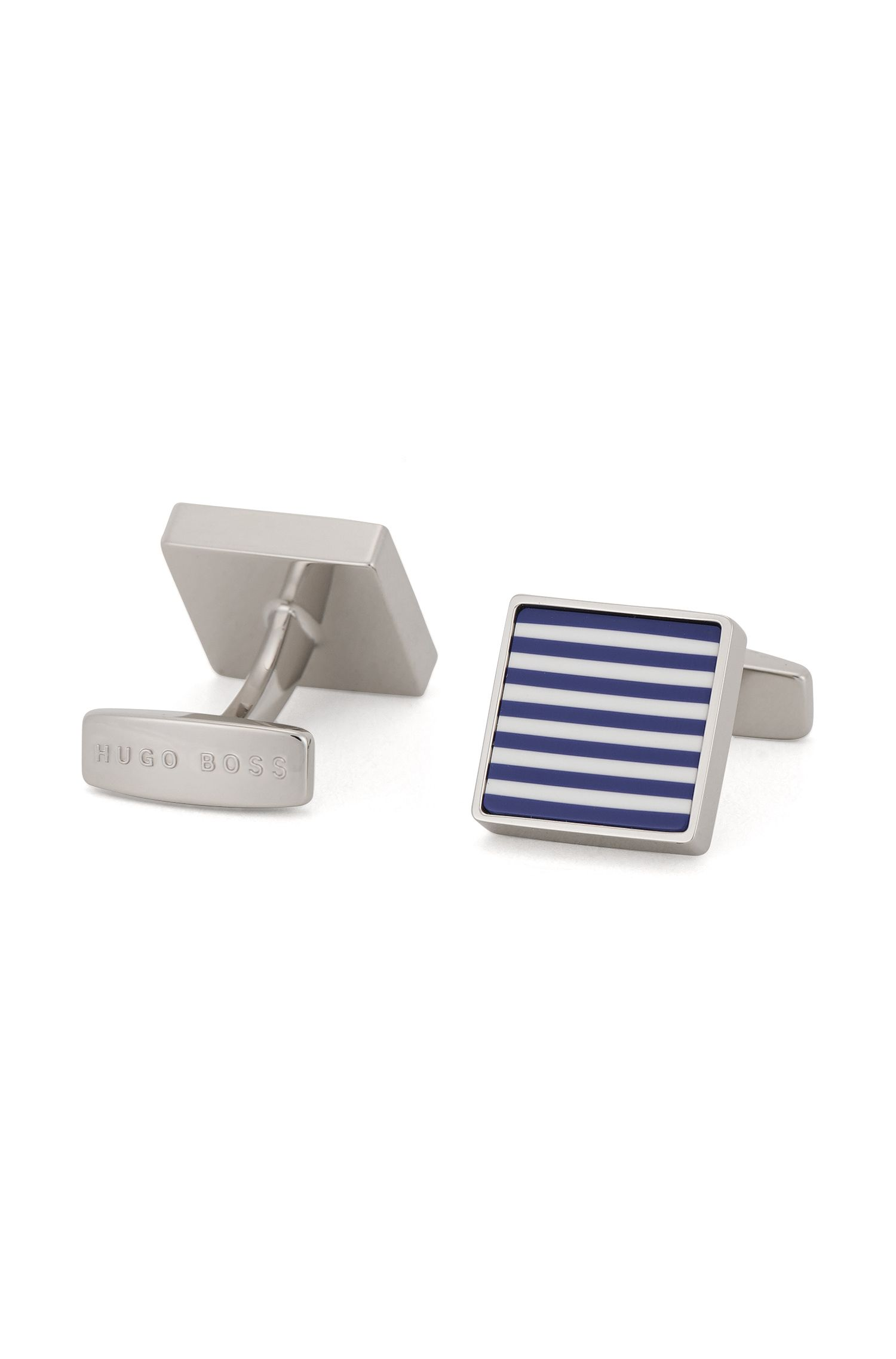Square cufflinks in hand-polished brass