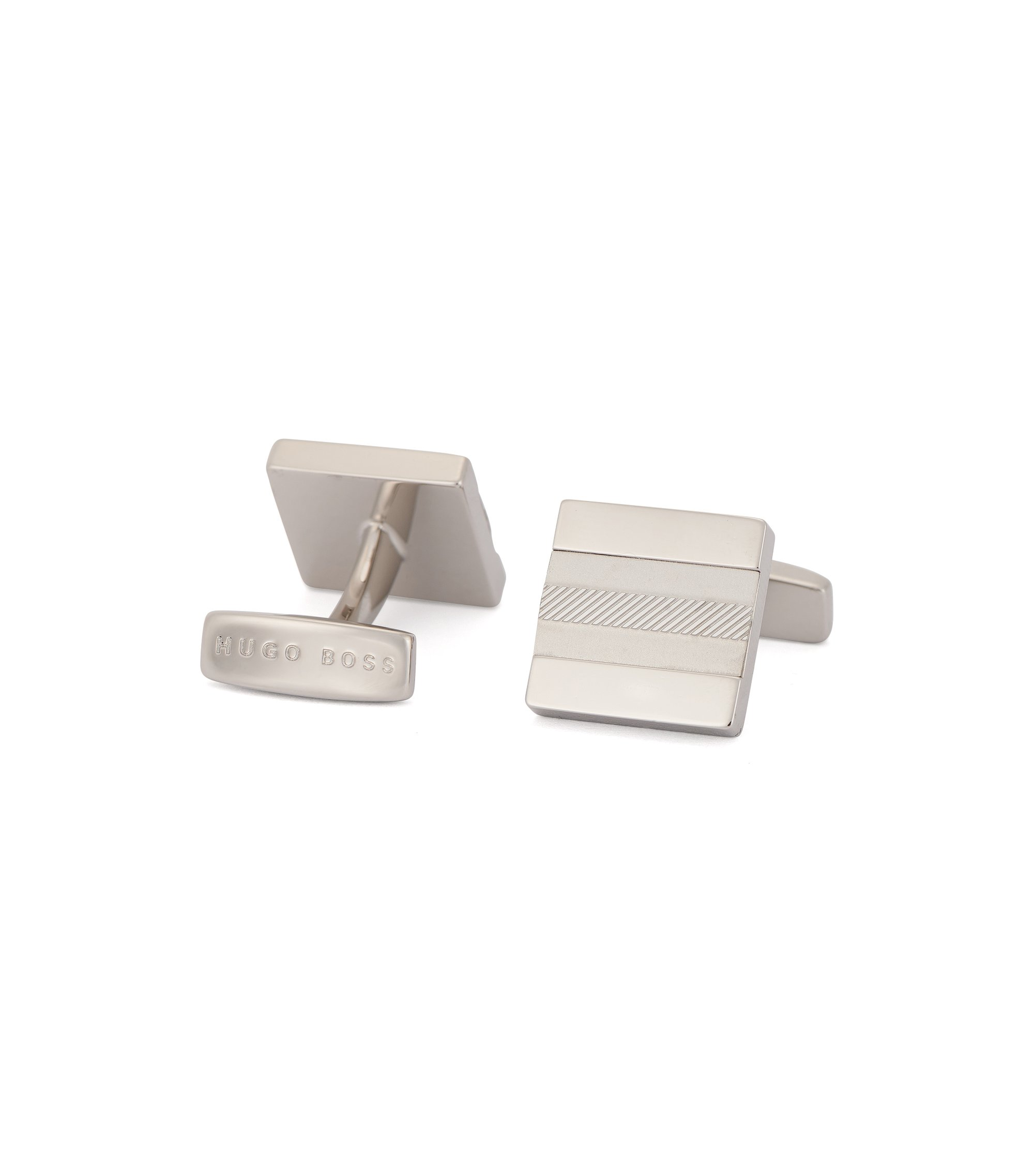 Square cufflinks in polished and brushed brass, Silver