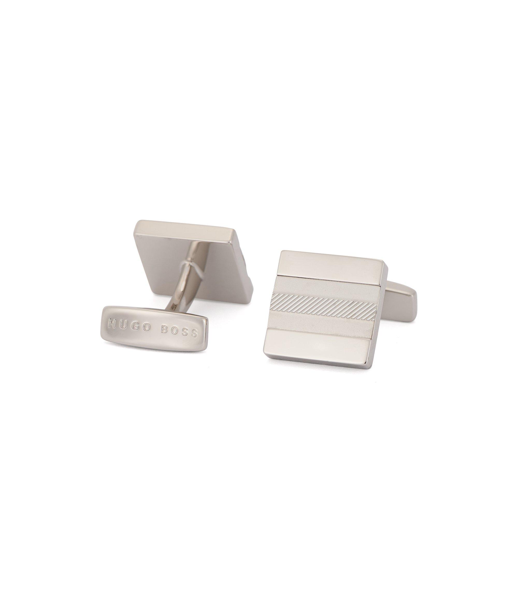 Viereckige Manschettenknöpfe aus poliertem und gebürstetem Messing, Silber