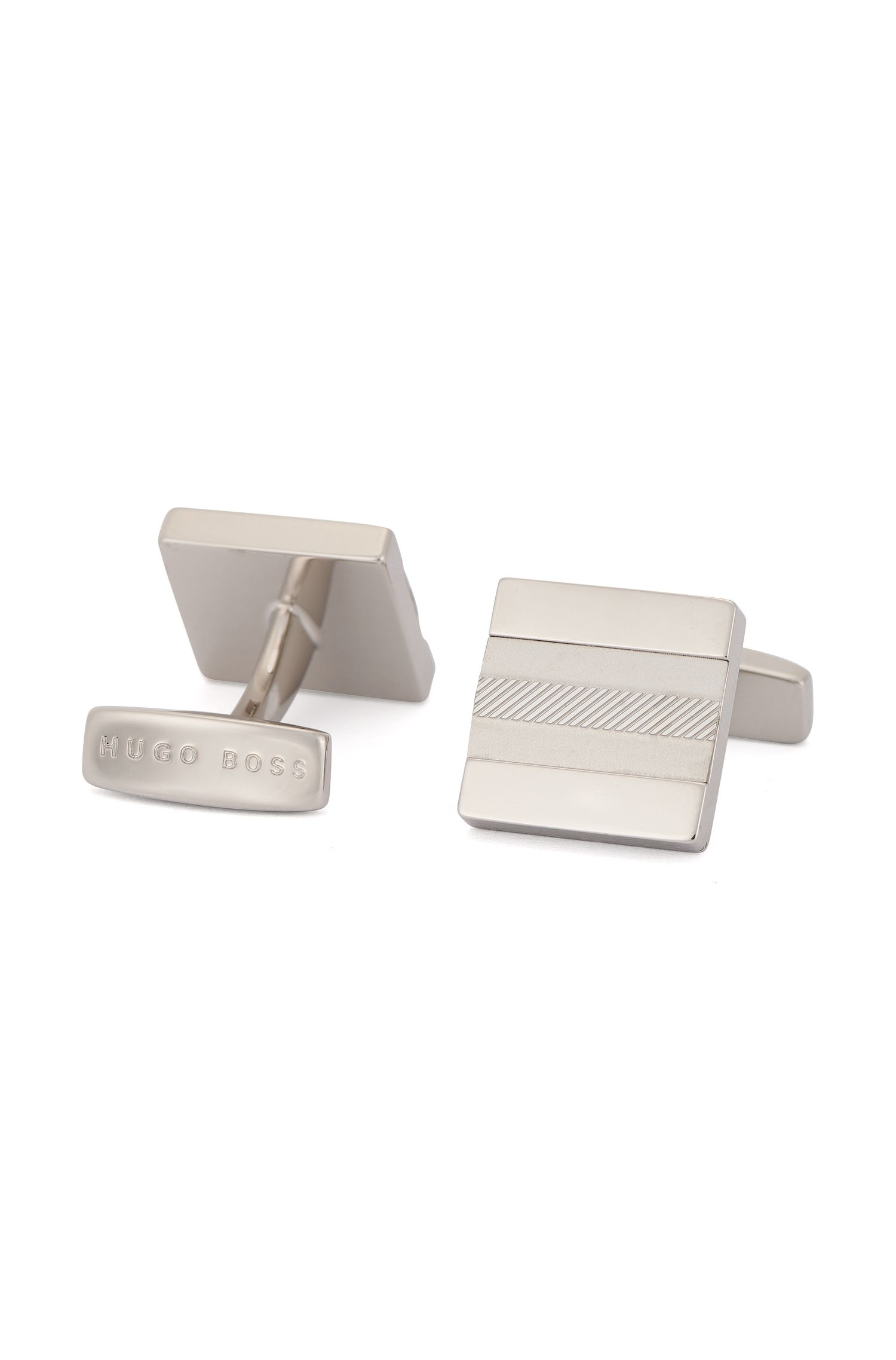 Square cufflinks in polished and brushed brass