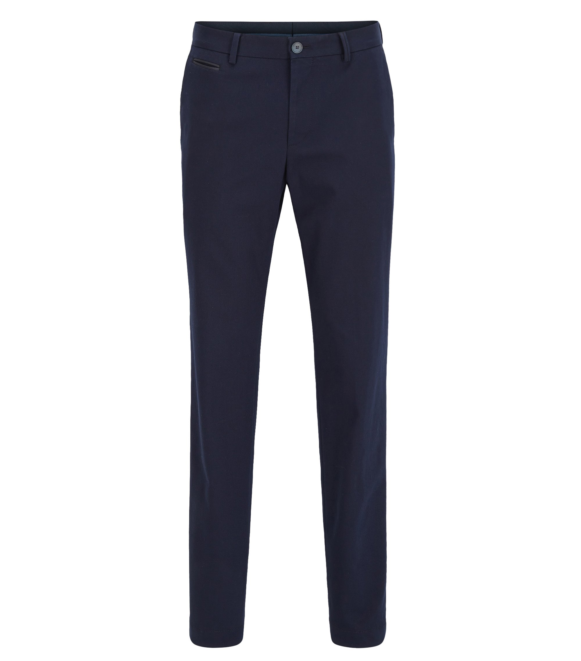 Slim-fit chinos in stretch cotton, Dark Blue