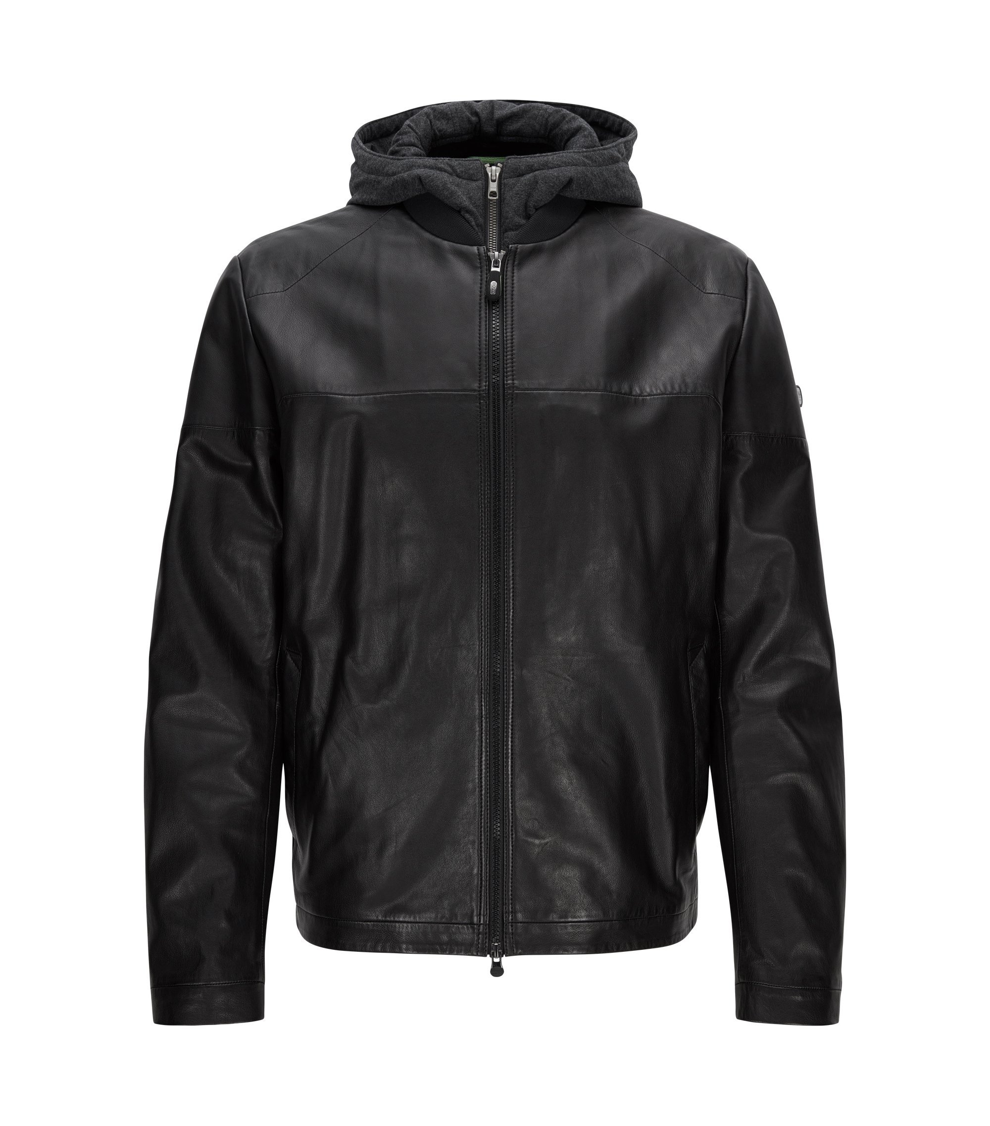 Regular-Fit Lederjacke, Schwarz