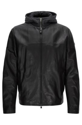 Veste en cuir Regular Fit, Noir