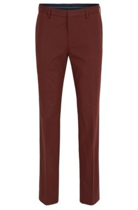 Slim-fit trousers in stretch cotton, Rojo oscuro