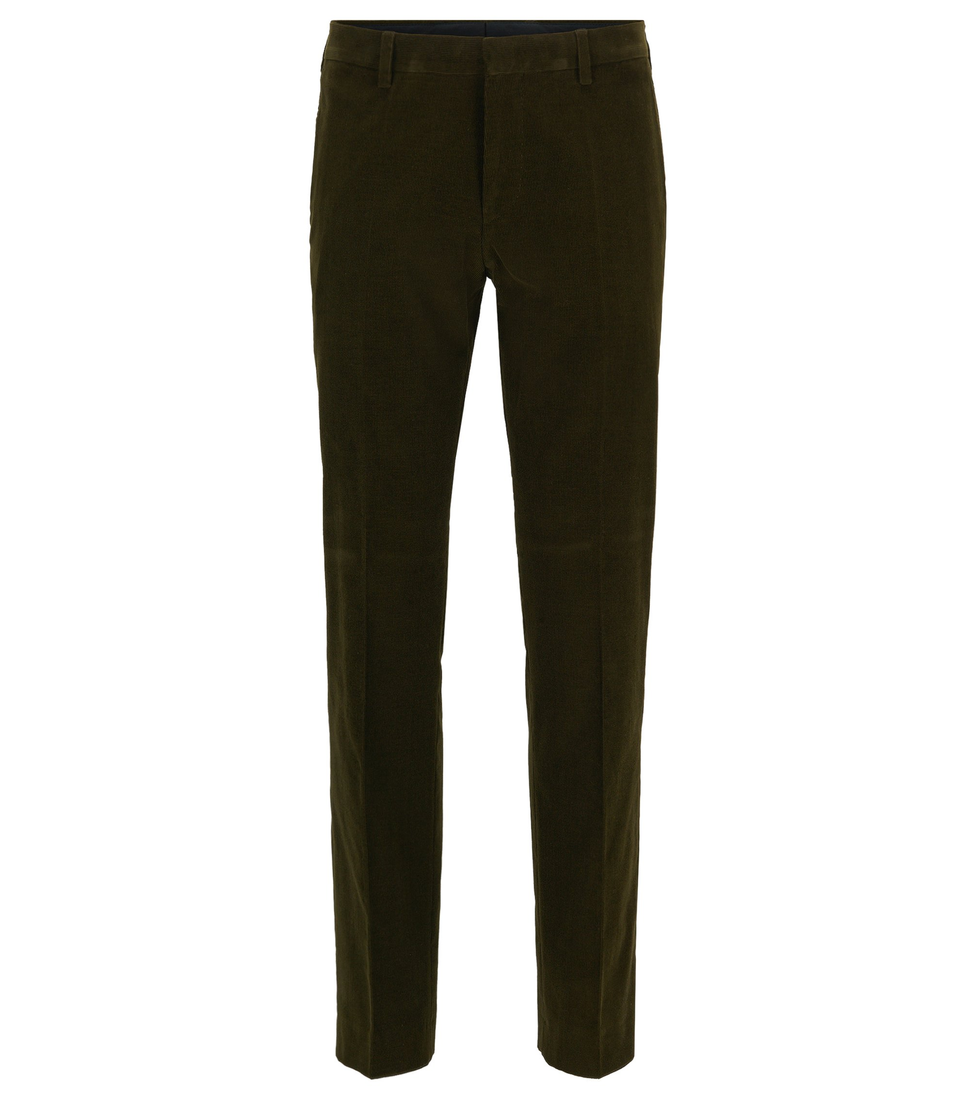 Pantalon Slim Fit en velours de coton stretch, Chaux