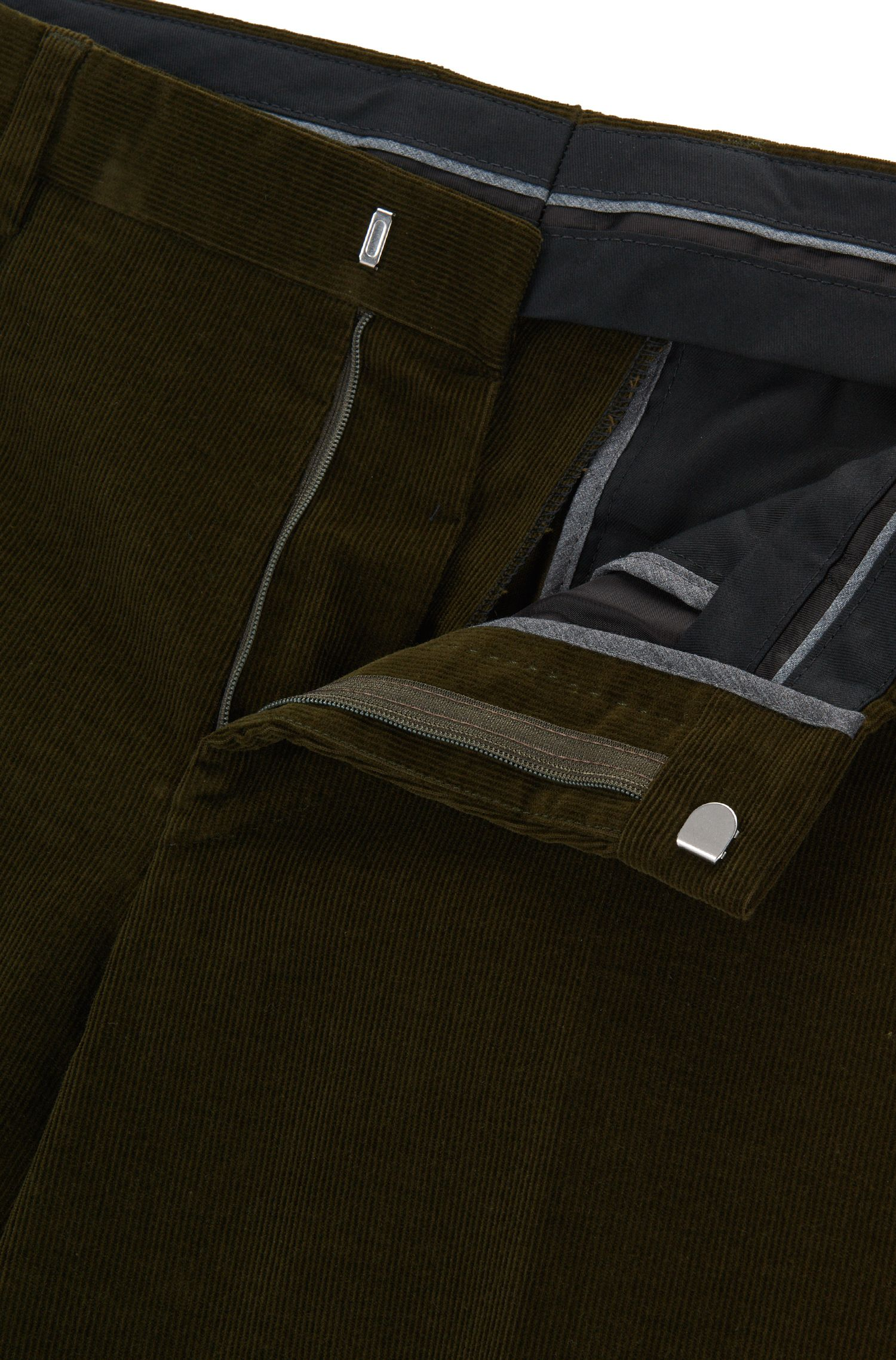 Slim-fit stretch-cotton corduroy trousers, Open Green