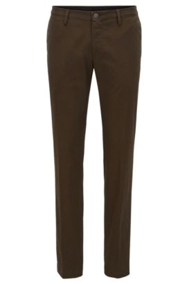 Slim-fit chinos in stretch cotton, Open Green