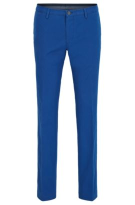 Slim-fit chinos in stretch cotton, Blue