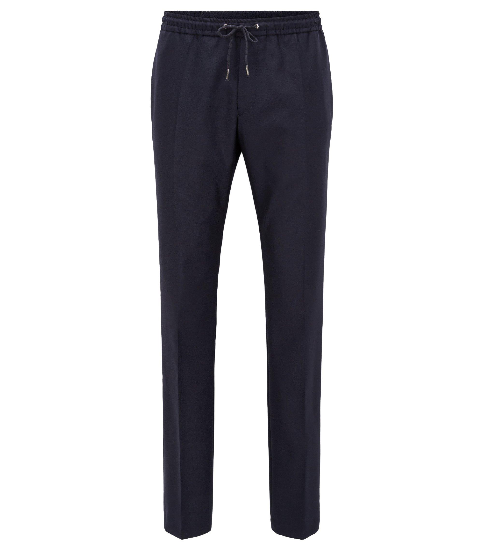 Relaxed-fit broek van scheerwol met trekkoord, Donkerblauw