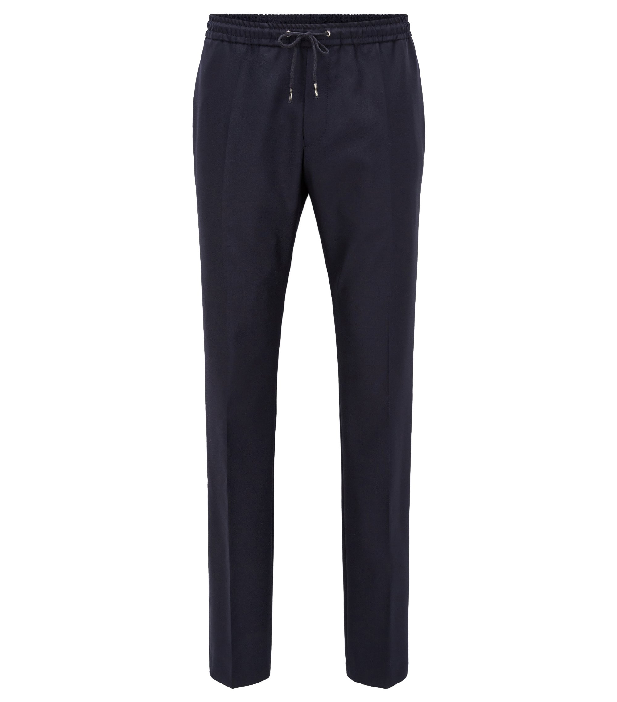 Pantaloni con cordoncino relaxed fit in lana vergine, Blu scuro