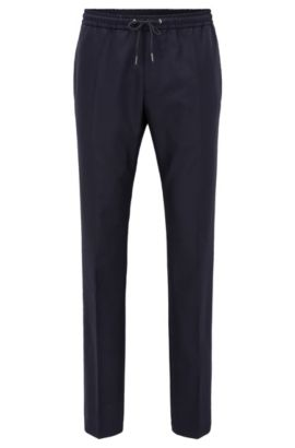 Pantaloni con cordoncino relaxed fit in lana vergine, Blu scuro