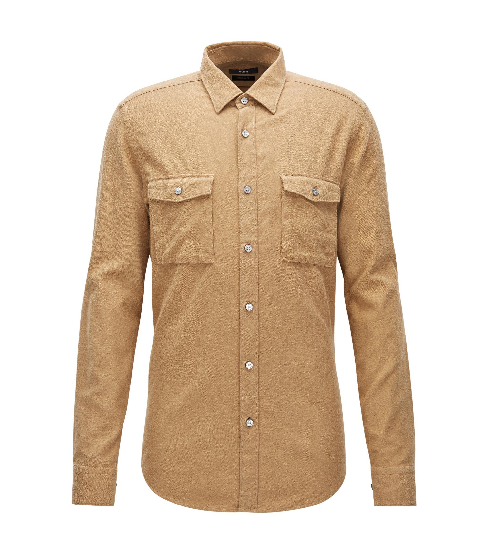 Regular-fit overhemd van zware katoenflanel, Beige