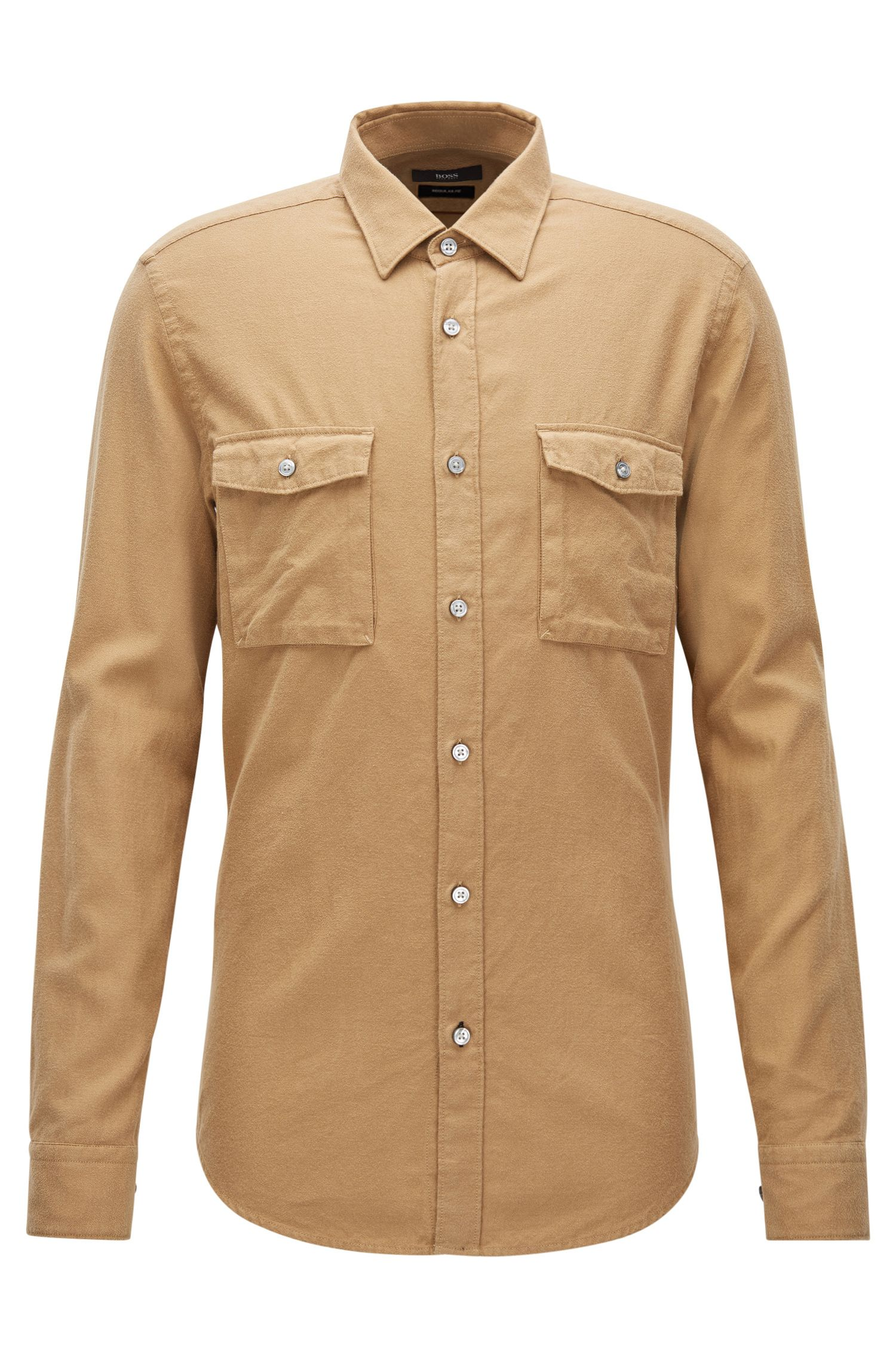 Regular-fit shirt in heavyweight cotton flannel