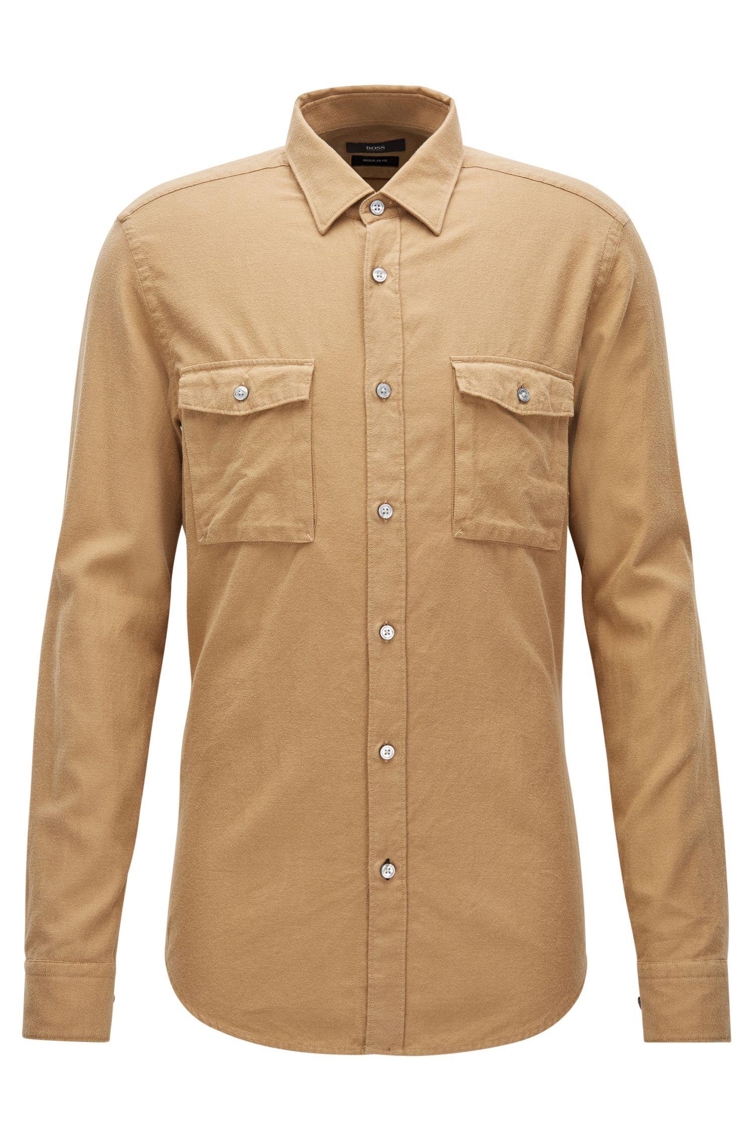 Camisa regular fit en franela de algodón
