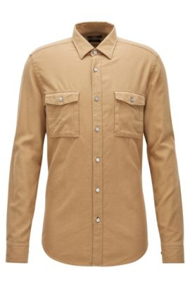 Camisa regular fit en franela de algodón, Beige