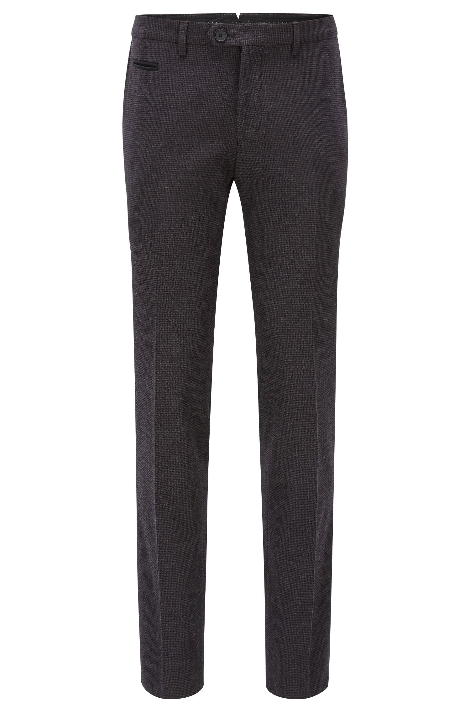 Extra-slim-fit houndstooth check trousers in stretch cotton