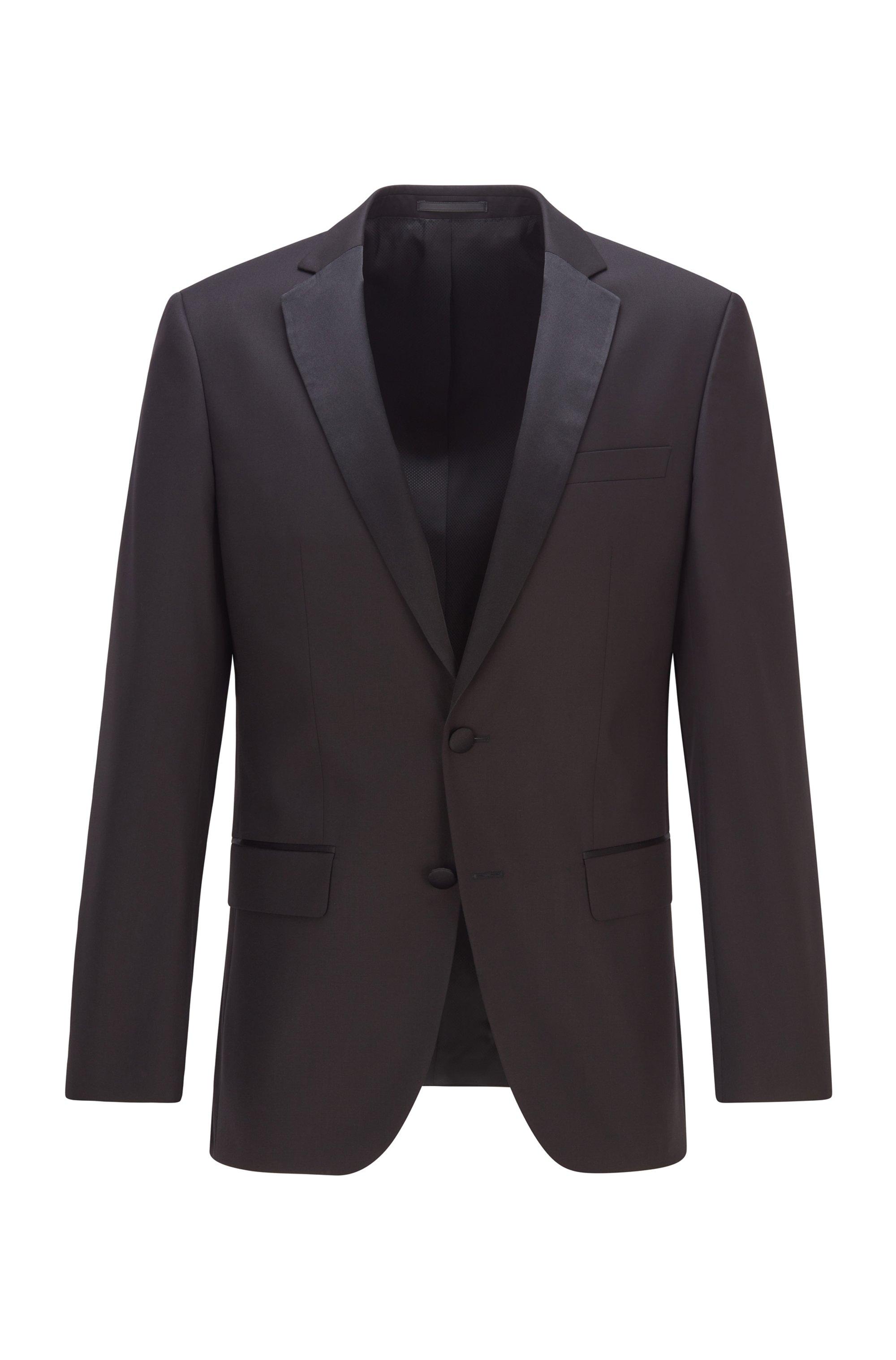 Slim-fit virgin wool jacket with silk details, Black