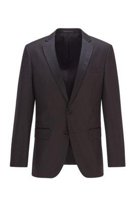 Veste Slim Fit en laine vierge agrémentée de soie, Noir