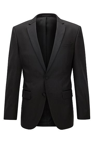 男士修身版羊毛外套,  001_黑色