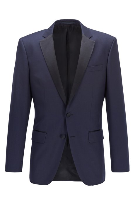 Slim-fit virgin wool jacket with silk details, Dark Blue