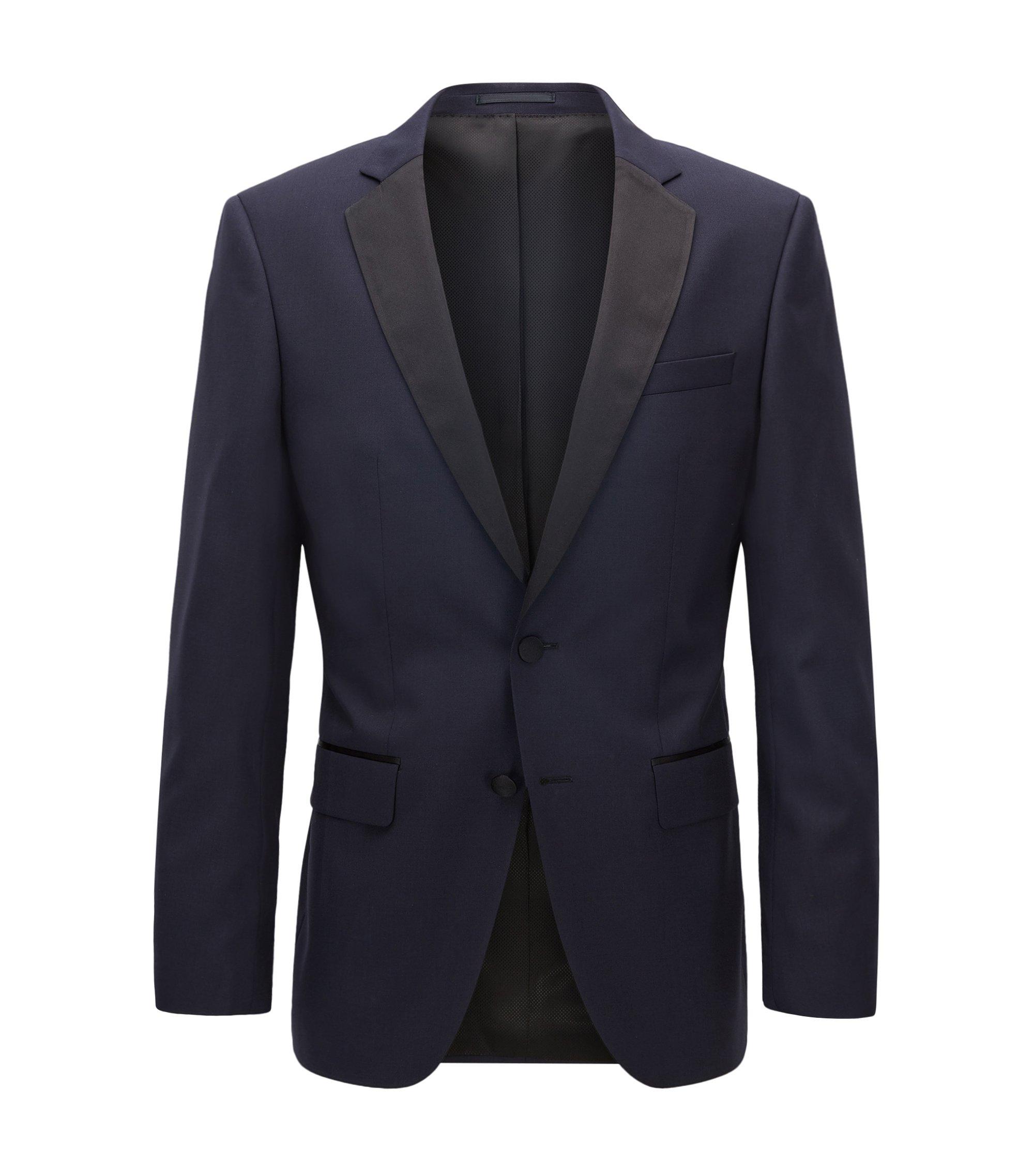 Giacca slim fit in lana vergine con dettagli in seta, Blu scuro
