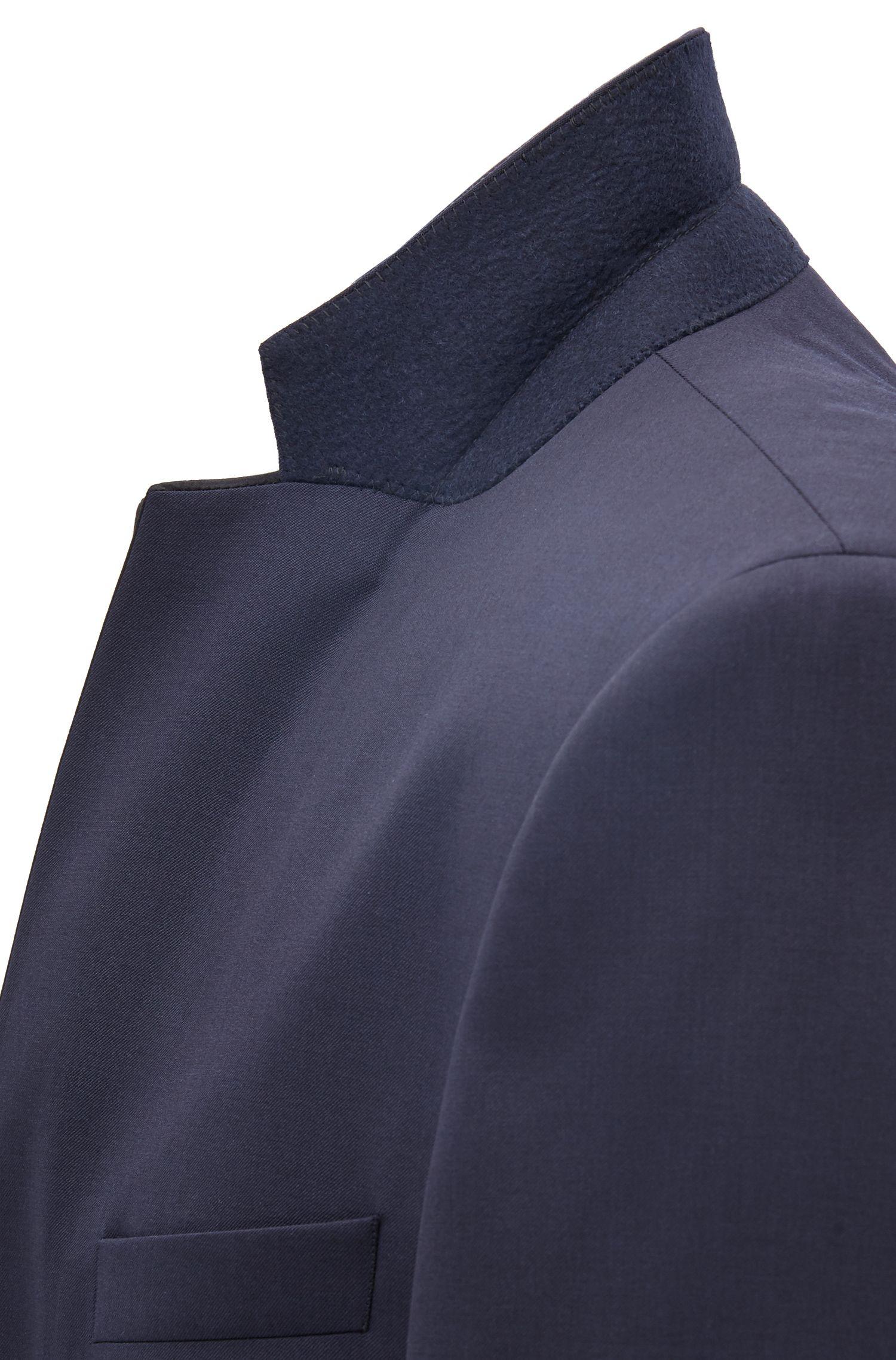 Slim-fit virgin wool jacket with silk details, Dark Blue