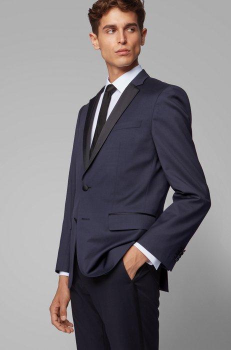 Slim-fit colbert van scheerwol met zijden details, Donkerblauw