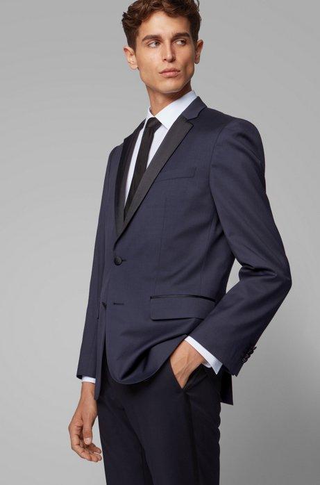 Veste Slim Fit en laine vierge agrémentée de soie, Bleu foncé