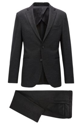 Slim-fit suit in stretch jersey, Antraciet