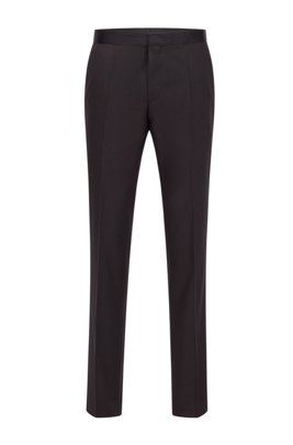Pantalon business Slim Fit en laine vierge avec finitions en soie, Noir