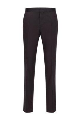 Slim-Fit Hose aus Schurwolle mit Seiden-Details, Schwarz