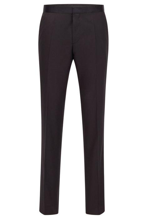 Pantalon business Slim Fit en laine vierge avec finitions en soie, Noir