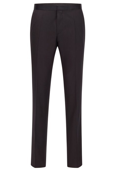 Pantaloni formali slim fit in lana vergine con finiture in seta, Nero