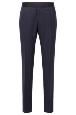 Pantalones formales slim fit en lana virgen con ribetes de seda, Azul oscuro
