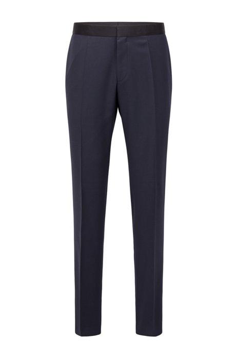 Pantalon business Slim Fit en laine vierge avec finitions en soie, Bleu foncé