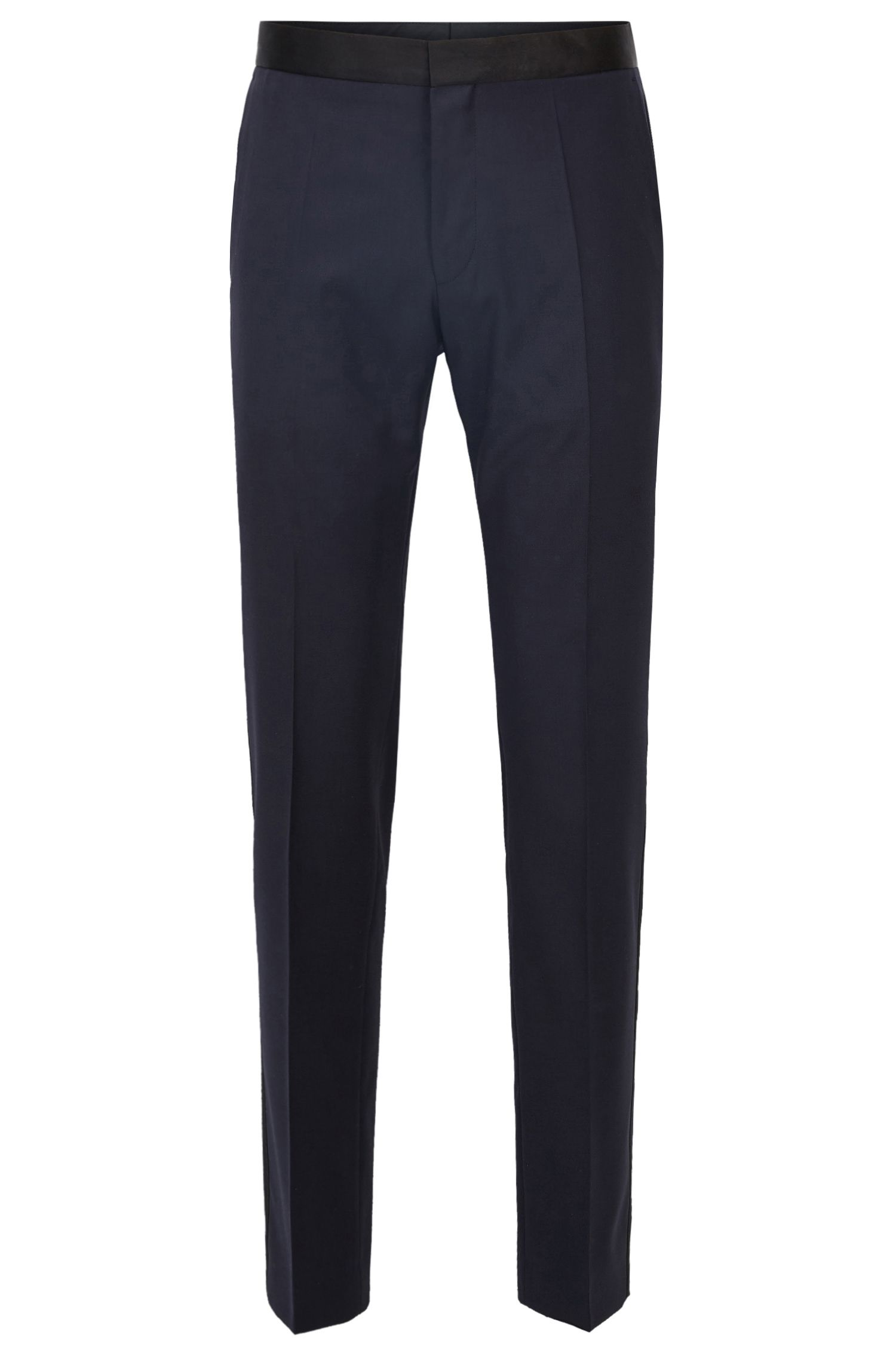 Slim-fit formal trousers in virgin wool with silk trims