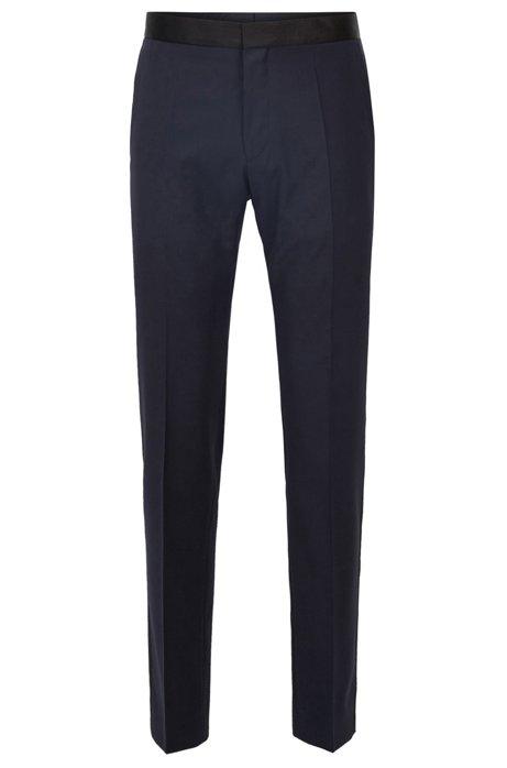 Slim-fit pantalon van scheerwol met zijden decoraties, Donkerblauw