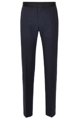 Slim-fit formal trousers in virgin wool with silk trims, Dark Blue