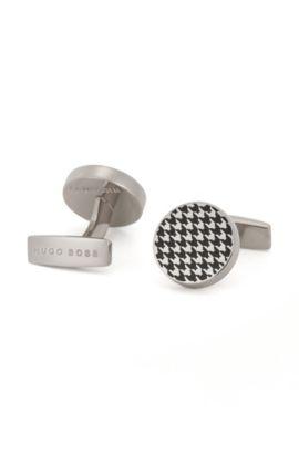 Round cufflinks in hand-polished brass, Black