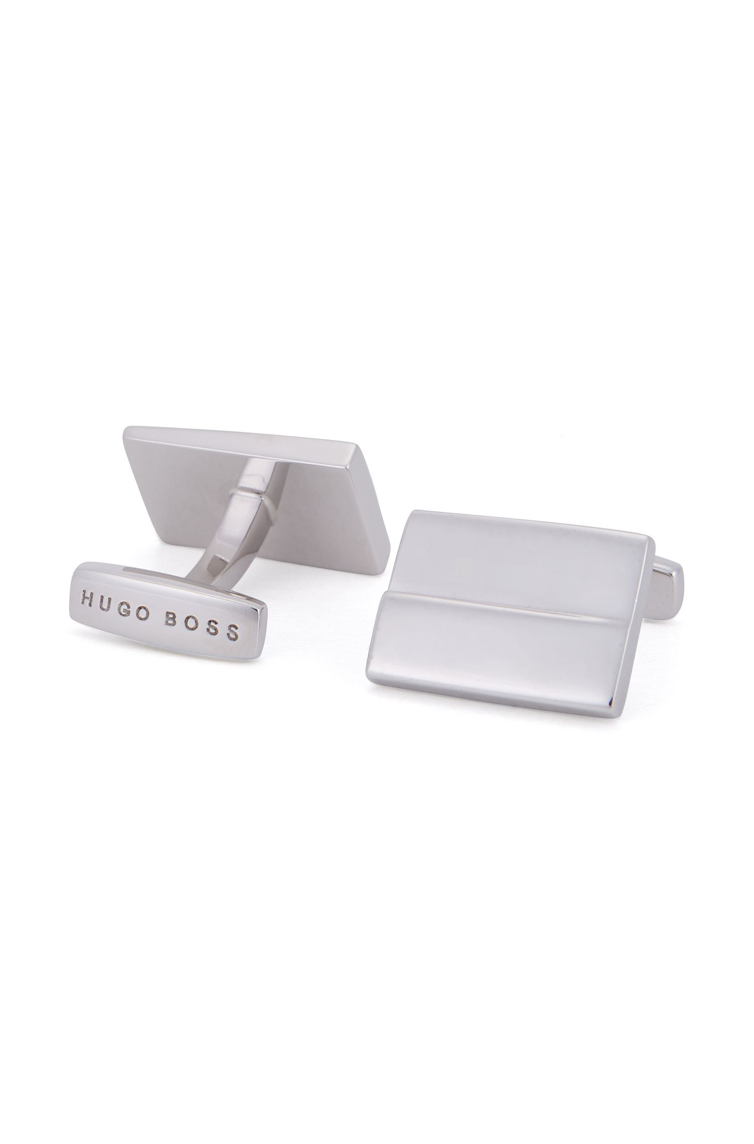 Rectangle cufflinks in hand-polished brass