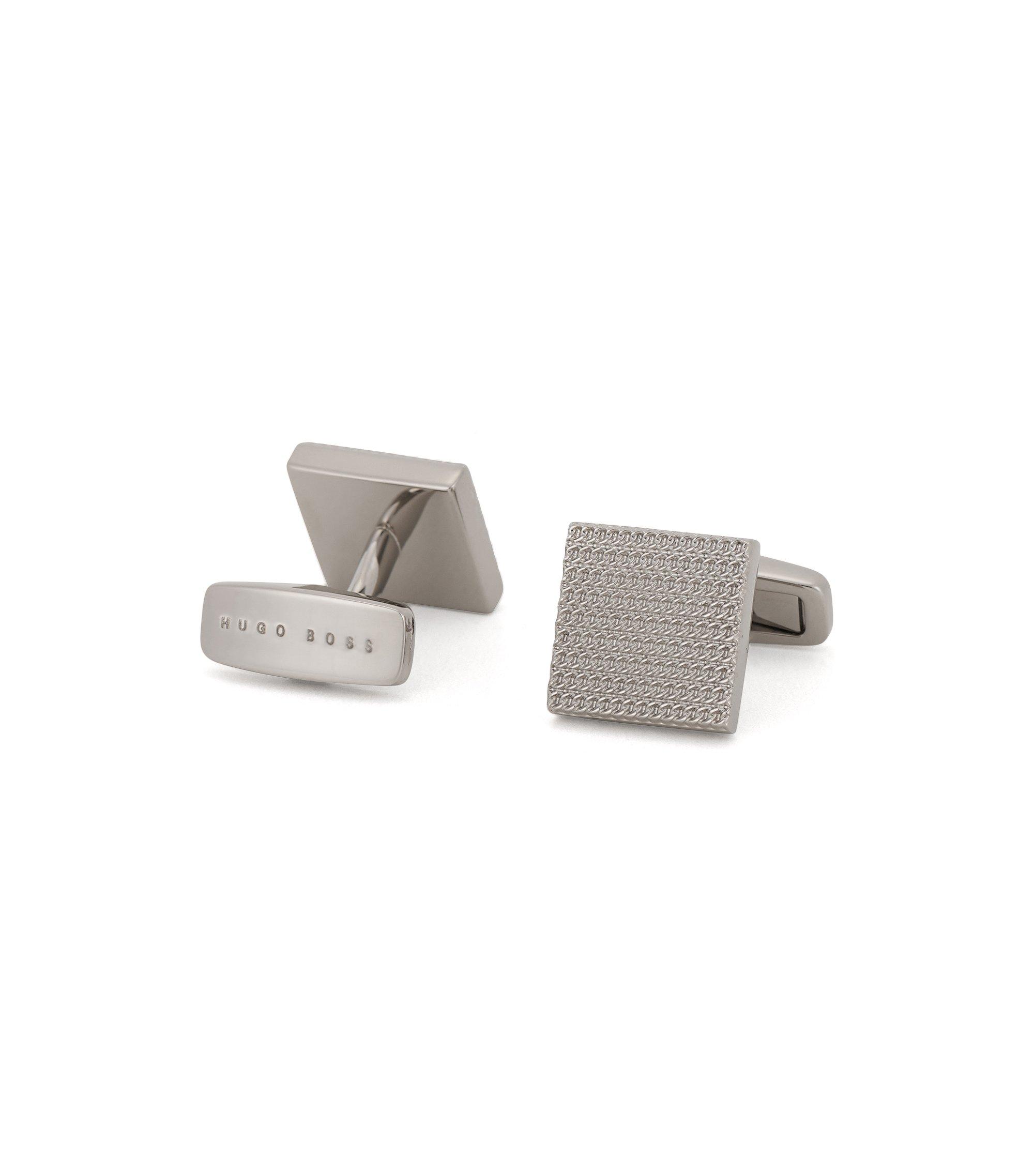 Vierkante manchetknopen van handgepolijst messing, Zilver