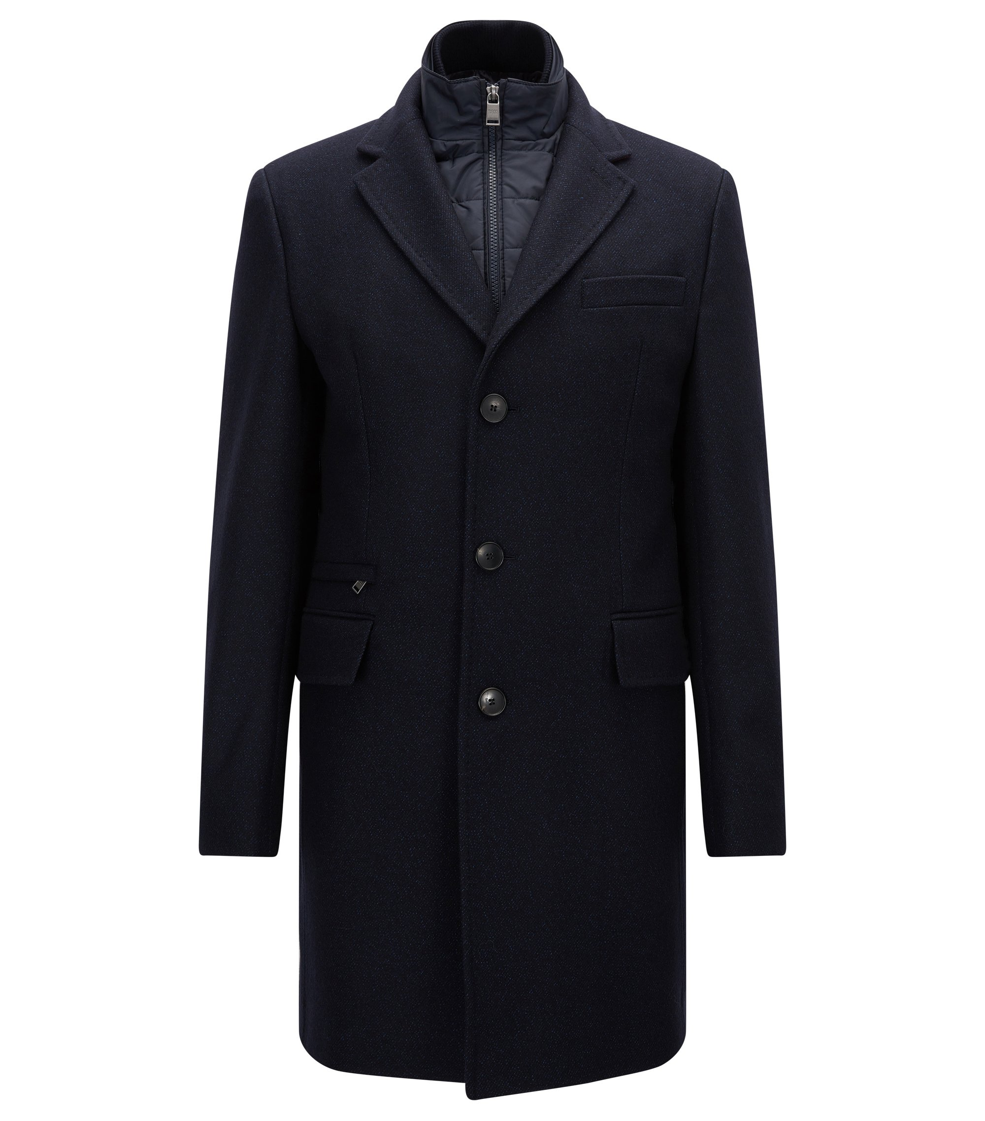 Cappotto slim fit in misto lana, Blu scuro